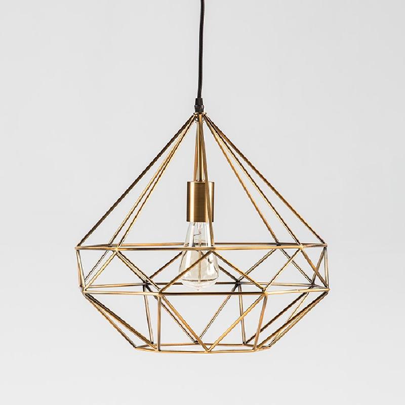 Lampe suspendue avec abat-jour 40x37 Métal Doré - image 52905