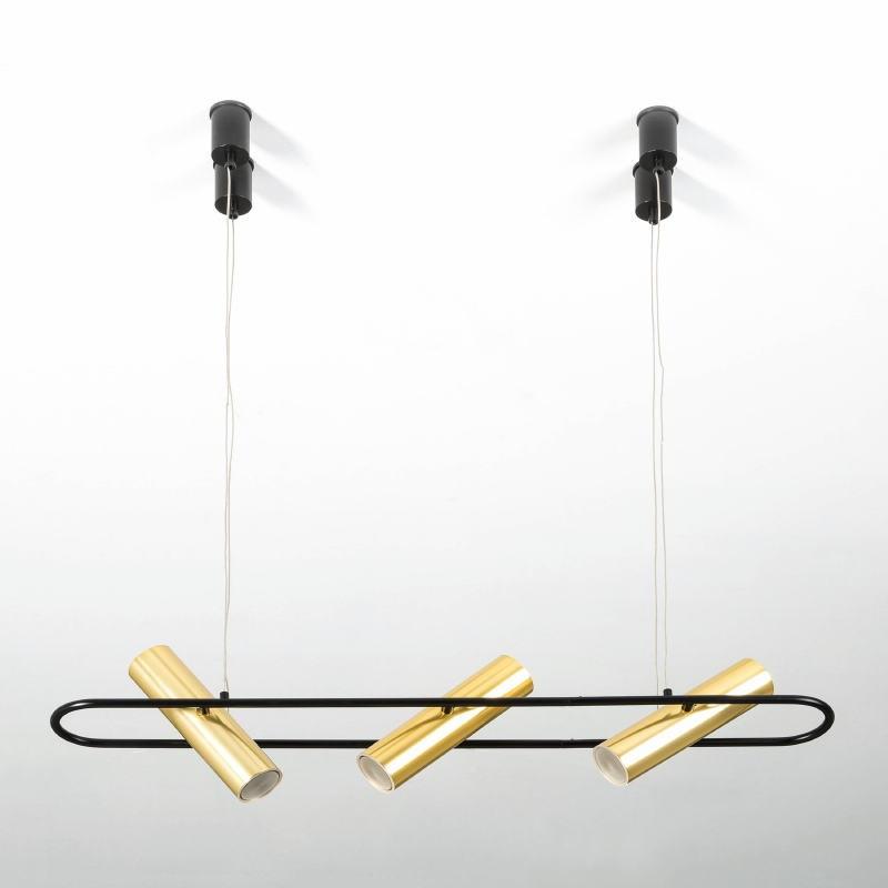 Lampada A Sospensione Con Paralume 90X10X200 Metallo Nero Dorato - image 52929