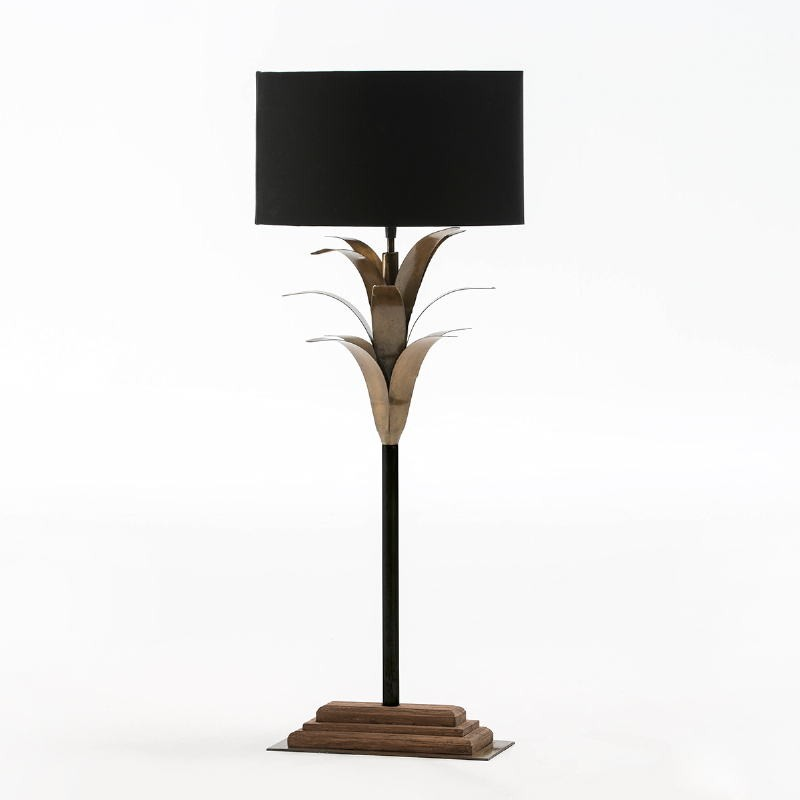 Table Lamp With Lampshade 30X28X74 Metal Wood Black - image 52934