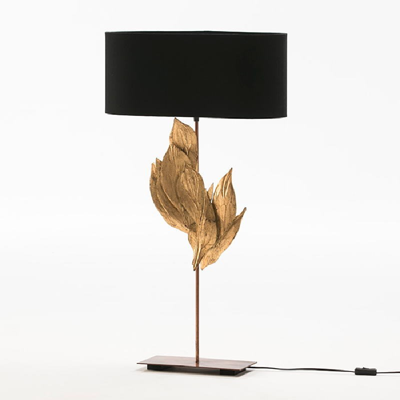 Table Lamp With Lampshade 30X15X76 Metal Wood Black