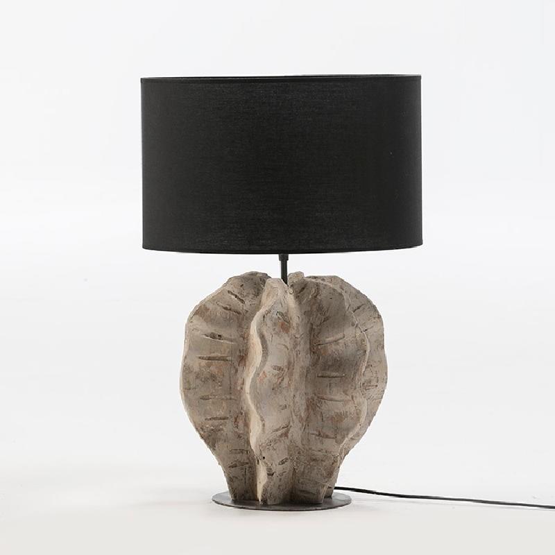 Lampe de Table sans abat-jour 30x28x42 Métal Bois Blanc blanchi
