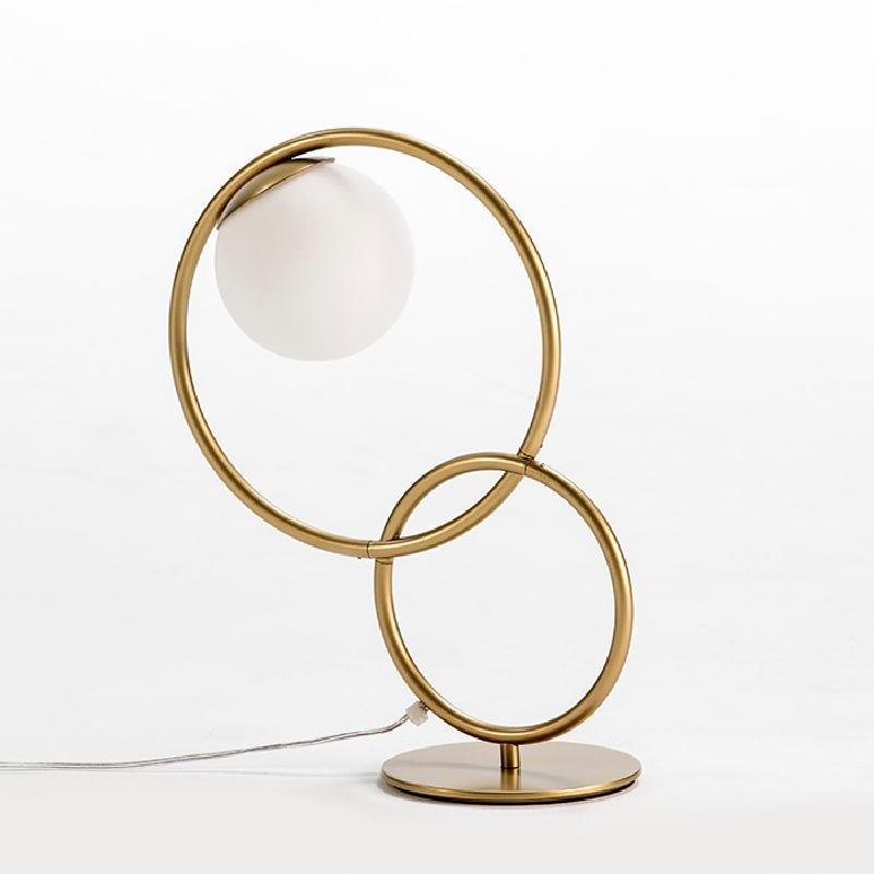 Lampe de Table avec abat-jour 42x18x48 Verre Métal Doré