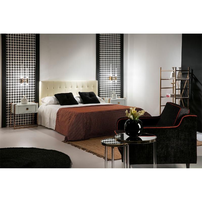Table de chevet 54x40x56 Acier Or Rose Verre Blanc - image 52952