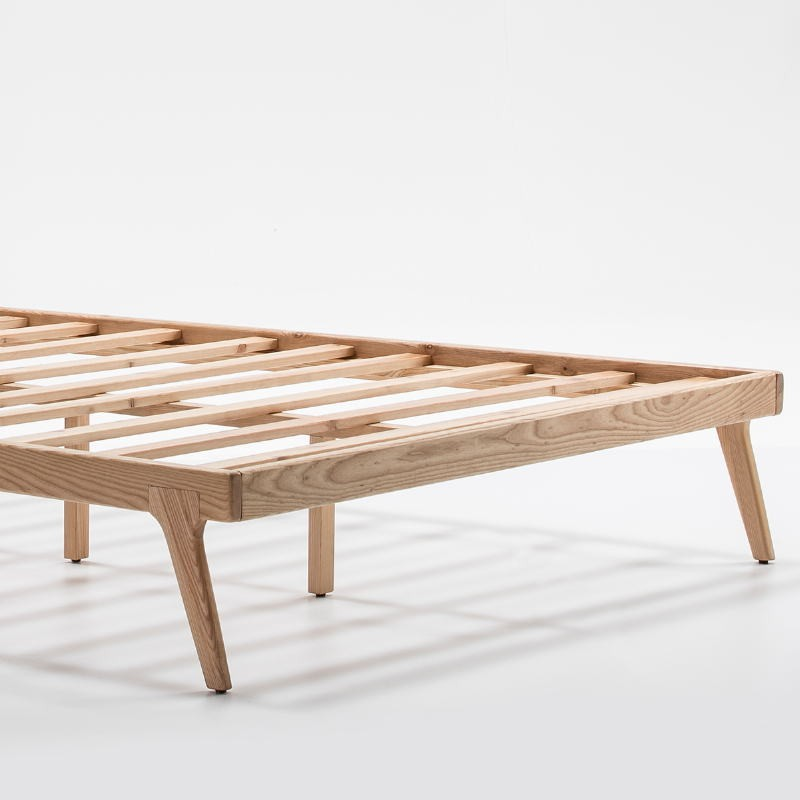 Bed 150X227X90 Wood Fabric Beige - image 52961