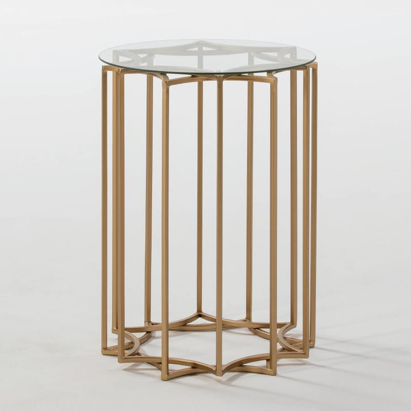 Auxiliary Table 46X46X65 Glass Metal Golden - image 52965