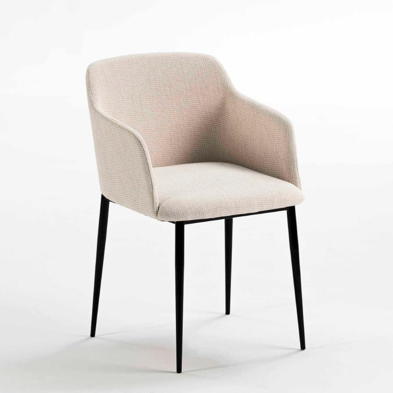 Chaise accoudoirs 51x55x78 Métal Noir tissu Blanc Cassé