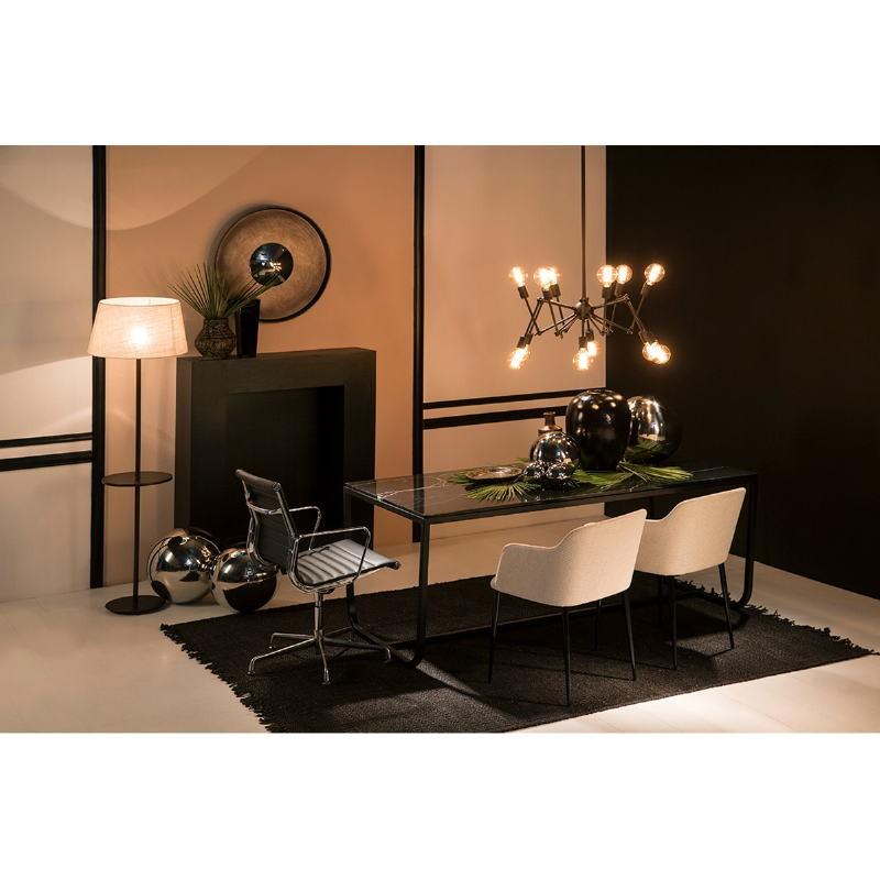 Chaise accoudoirs 51x55x78 Métal Noir tissu Blanc Cassé - image 52977
