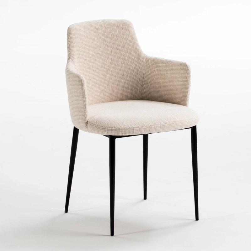 Chaise accoudoirs 54x55x87 Métal Noir tissu Blanc Cassé