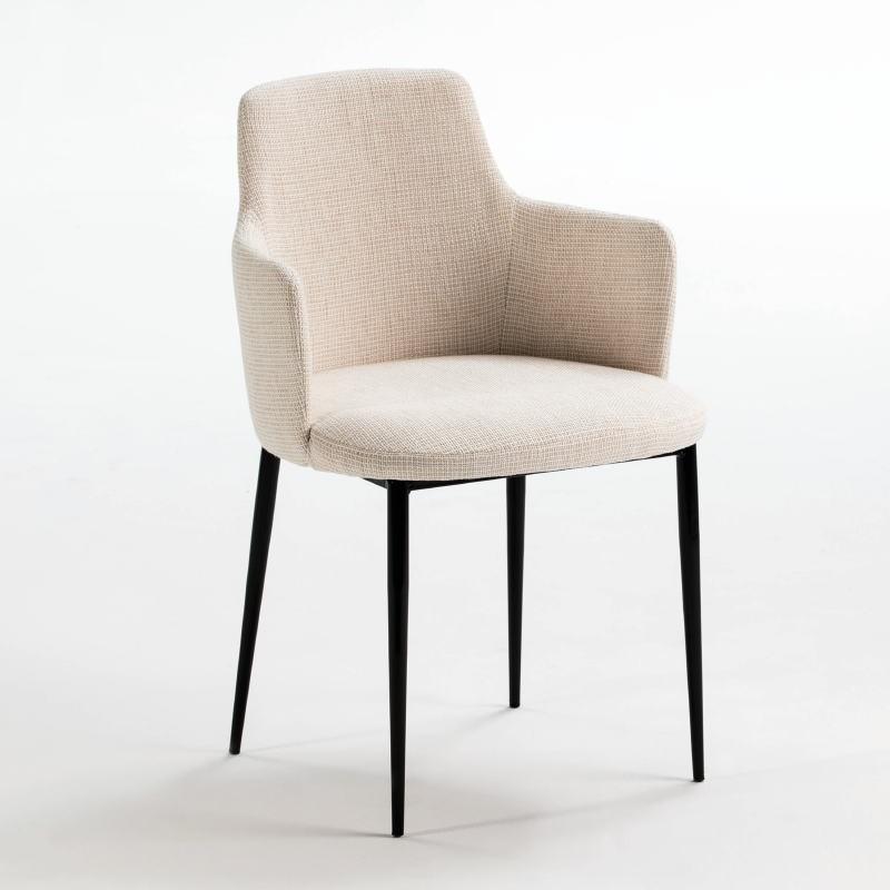 Chaise accoudoirs 54x55x87 Métal Noir tissu Blanc Cassé - image 52981