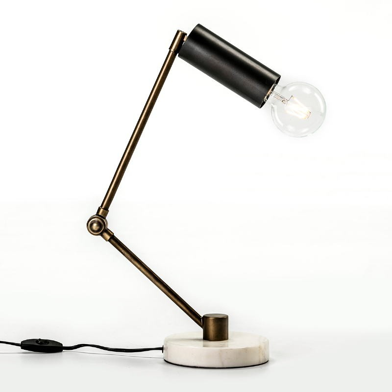 Tischlampe 42X15X34 Marmor/Metall Weiß/Golden/Schwarz