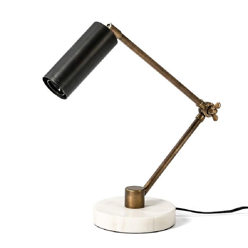 Lampe de Table 42x15x34 Marbre Blanc Métal Doré Noir - image 52985