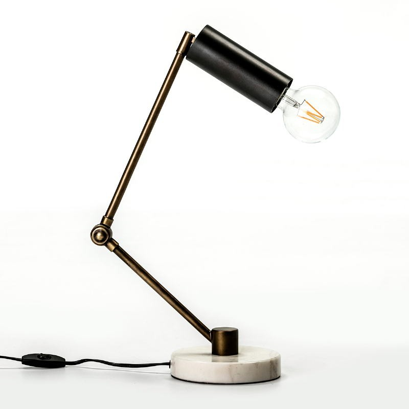 Table Lamp 42X15X34 Marble White Metal Golden Black - image 52986