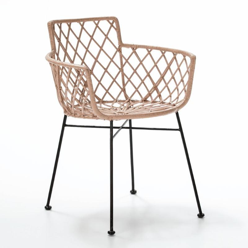 Chair 61X57X76 Metal Black Wicker Caramel - image 52997