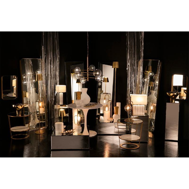 Lampe de Table avec abat-jour 22x22x43 Verre Métal Doré - image 53022