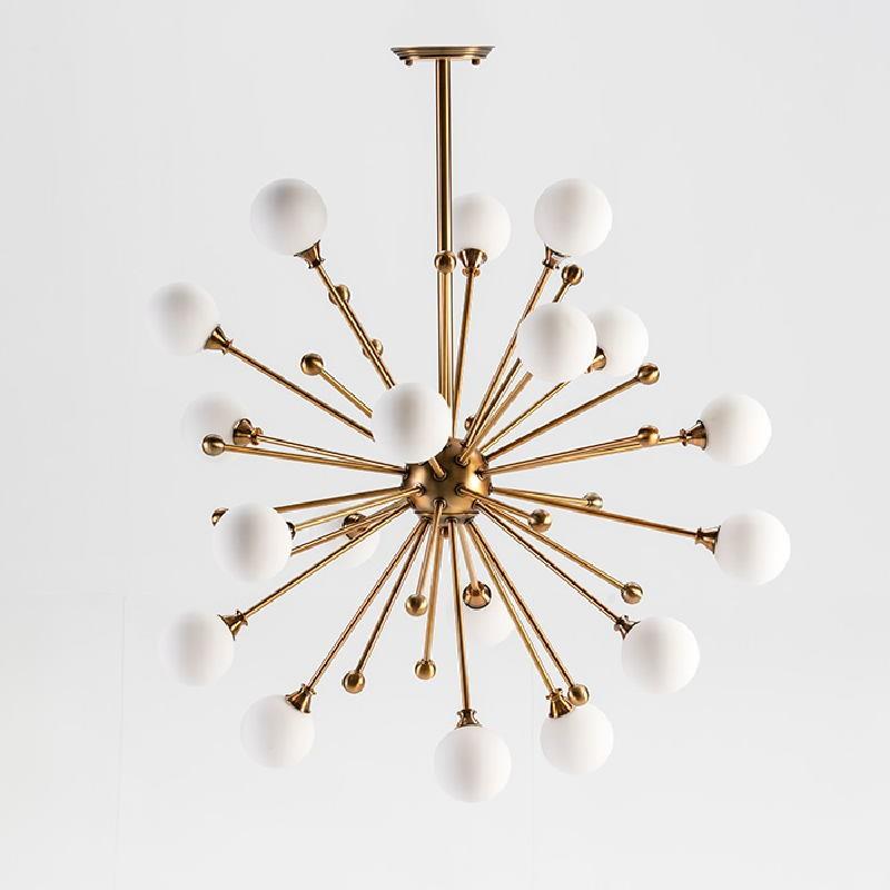 Lampe suspendue avec abat-jour 70x113 Verre Blanc Métal Doré - image 53027