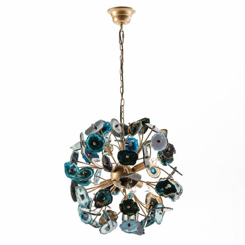 Lampada A Sospensione 55X55X55 Metallo Dorato Agata Blu - image 53038