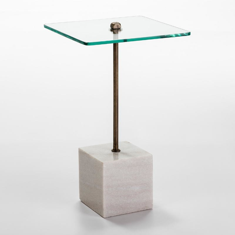 Auxiliary Table 40X40X66 Glass Metal Marble White