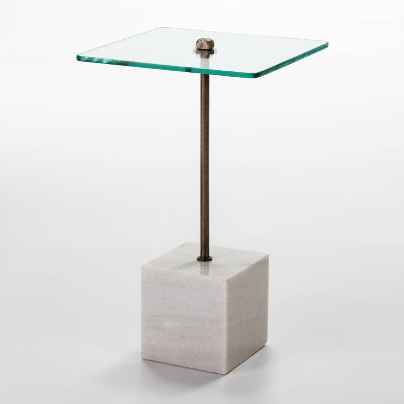 Auxiliary Table 40X40X66 Glass Metal Marble White - image 53061