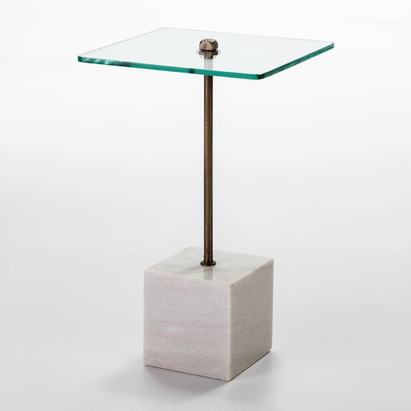 Table d'appoint, bout de canapé 40x40x66 Verre Métal Marbre Blanc - image 53061