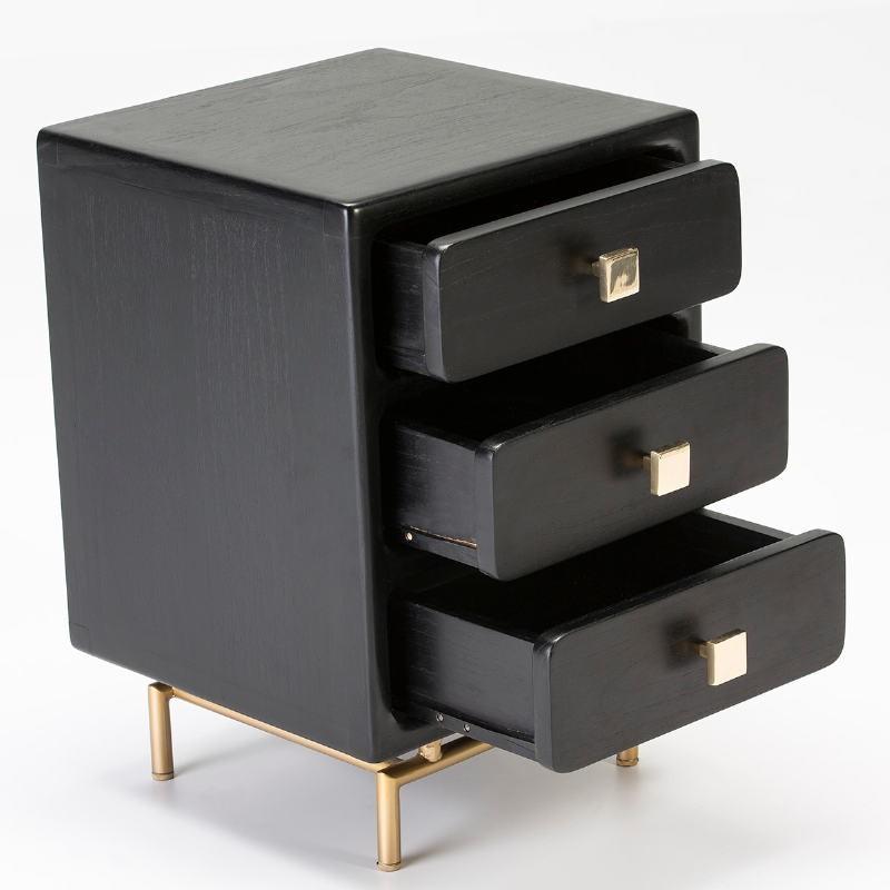 Bedside Table 3 Drawers 42X40X60 Metal Golden Wood Black - image 53071