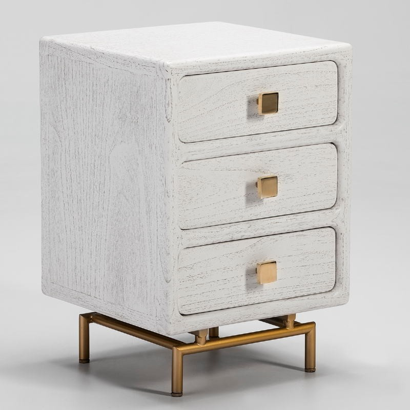 Bedside Table 3 Drawers 42X40X60 Metal Golden Wood White
