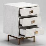 Nachttisch 3 Schubladen 42X40X60 Metall/Holz Golden/Weiß
