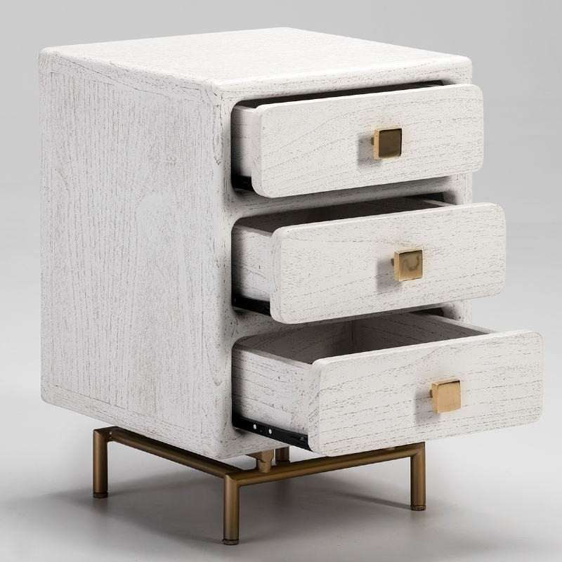 Bedside Table 3 Drawers 42X40X60 Metal Golden Wood White - image 53073