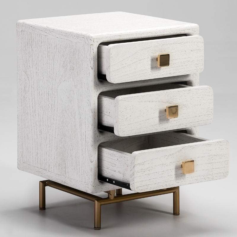 Nachttisch 3 Schubladen 42X40X60 Metall/Holz Golden/Weiß - image 53073