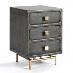 Nachttisch 3 Schubladen 42X40X60 Metall/Holz Golden/Grau