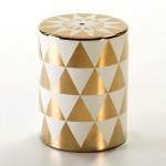 Sgabello 33X33X43 Ceramica Dorato Bianco
