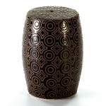 Hocker 32X32X43 Keramik Schwarz/Sahne