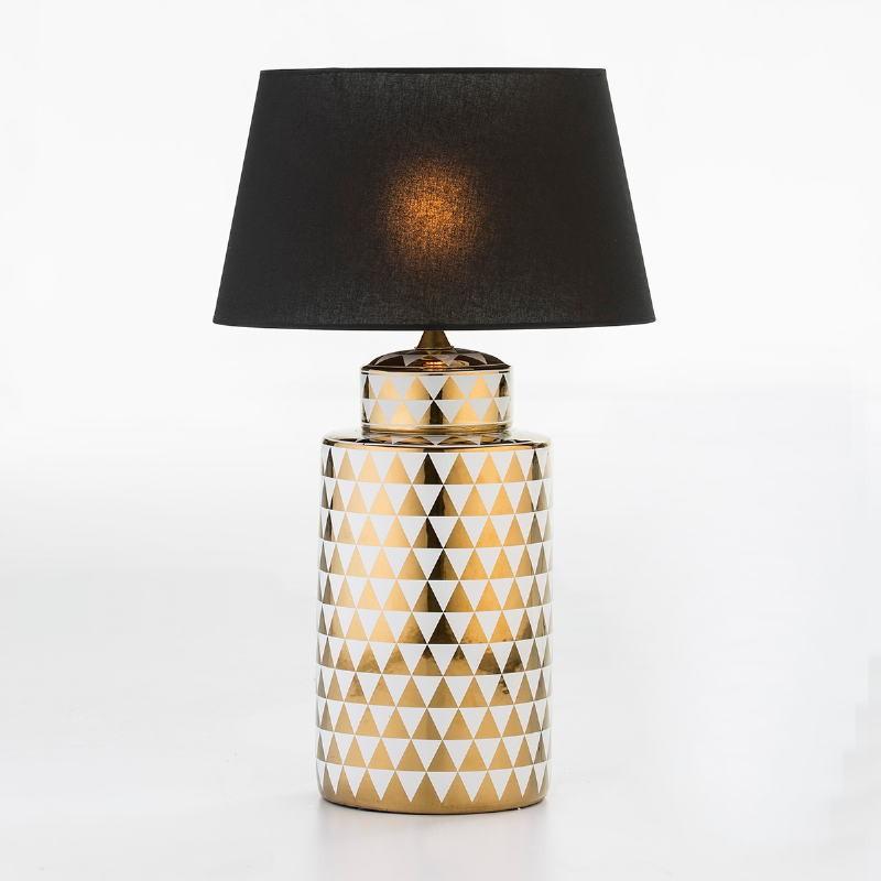 Lampada Da Tavolo Senza Paralume 23X23X51 Ceramica Dorato Bianco - image 53089