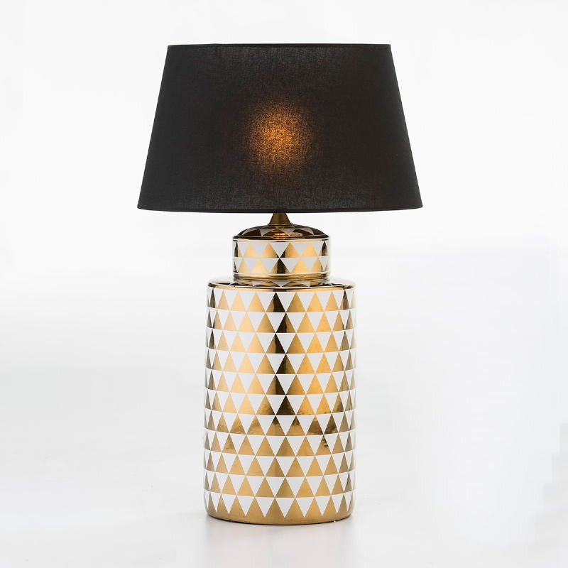 Table Lamp Without Lampshade 23X23X51 Ceramic Golden White - image 53089