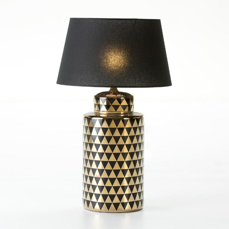 Lampe Auf Tisch Ohne Bildschirm 23X23X51 Keramik Golden/Schwarz - image 53092