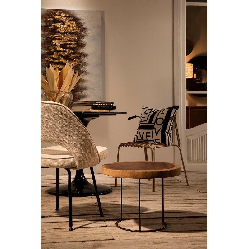 Chaise 54x58x80 Métal Noir tissu Blanc Cassé - image 53099