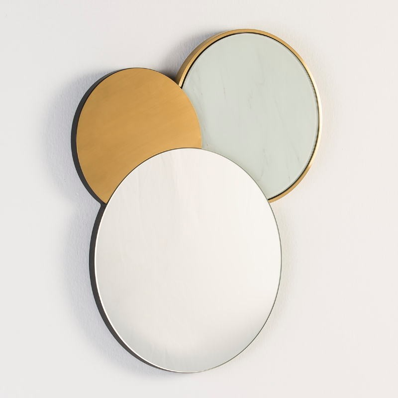Specchio 54X3X65 Vetro Falso Marmo Metallo Dorato