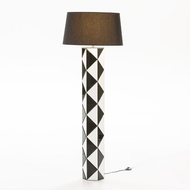 Lampada A Stelo Senza Paralume 23X20X140 Vetro Bianco Nero - image 53120