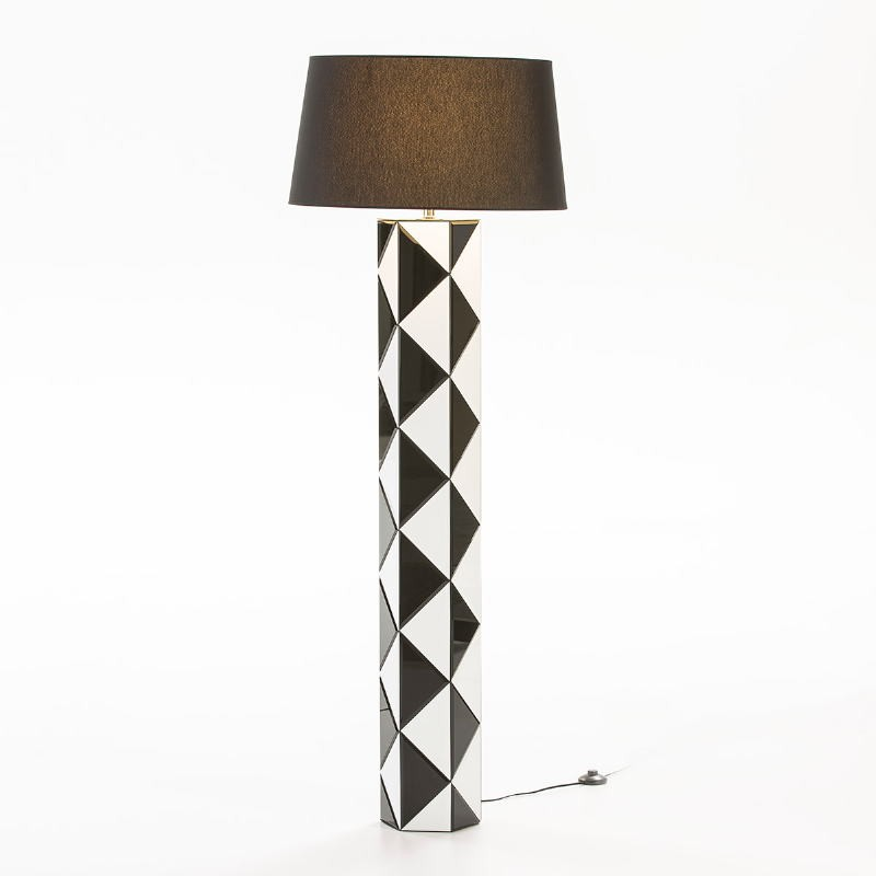 Standard Lamp Without Lampshade 23X20X140 Glass White Black - image 53120