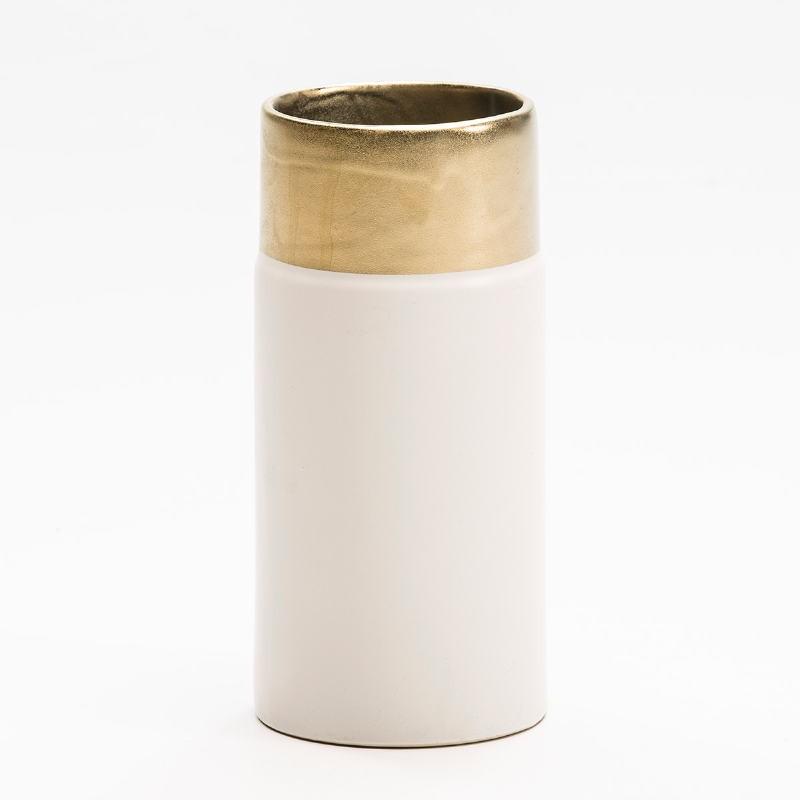 Vase 11X11X24 Keramik Weiß/Golden