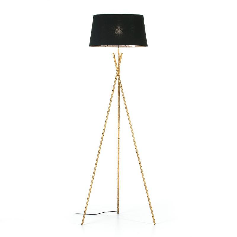 Lampada A Stelo 60X60X180 Metallo Dorato Con Paralume Nero