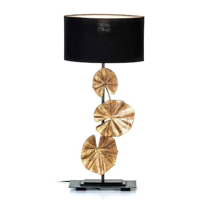 Lampe de Table 30x15x78 Métal Doré Noir avec abat-jour Noir