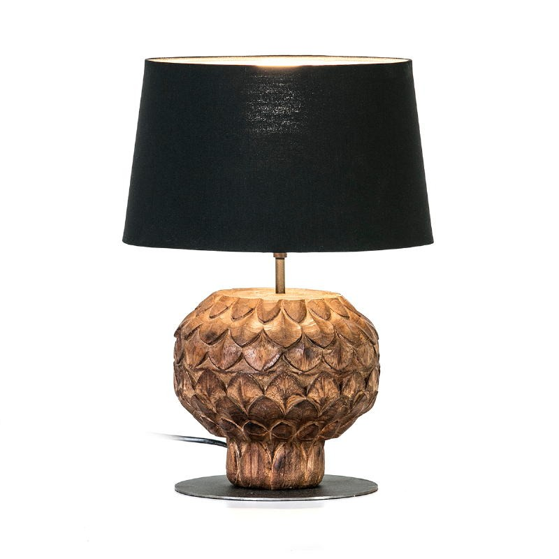 Table Lamp 20X20X43 Metal Wood Brown With Lampshade Black