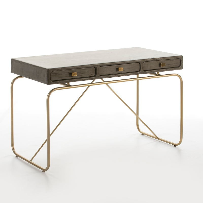 Desk 120X60X76 Metal Golden Wood Grey