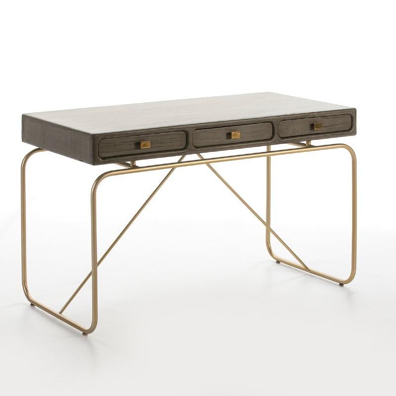 Schreibtisch 120X60X76 Metall/Holz Golden/Grau - image 53177