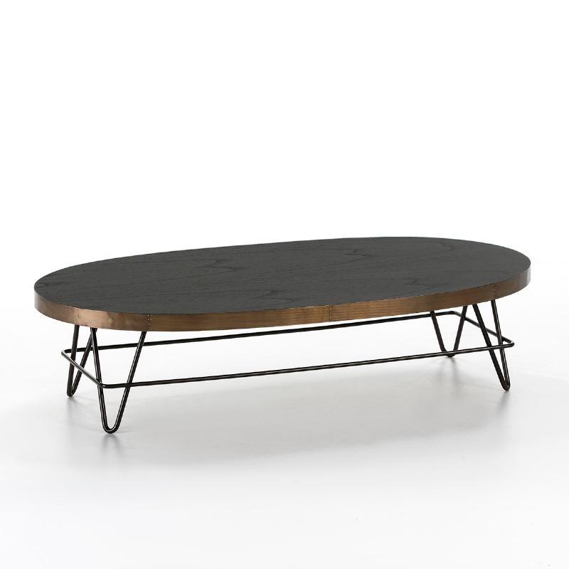 Coffee Table 120X60X30 Wood Black Metal Golden Black