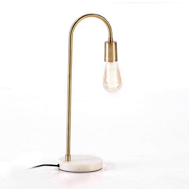 Lampe de Table 24x15x50 Marbre Blanc Métal Doré - image 53189