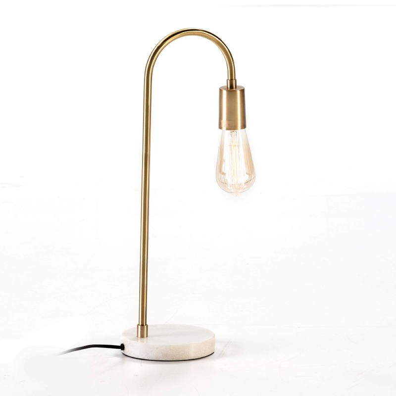 Table Lamp 24X15X50 Marble White Metal Golden - image 53189