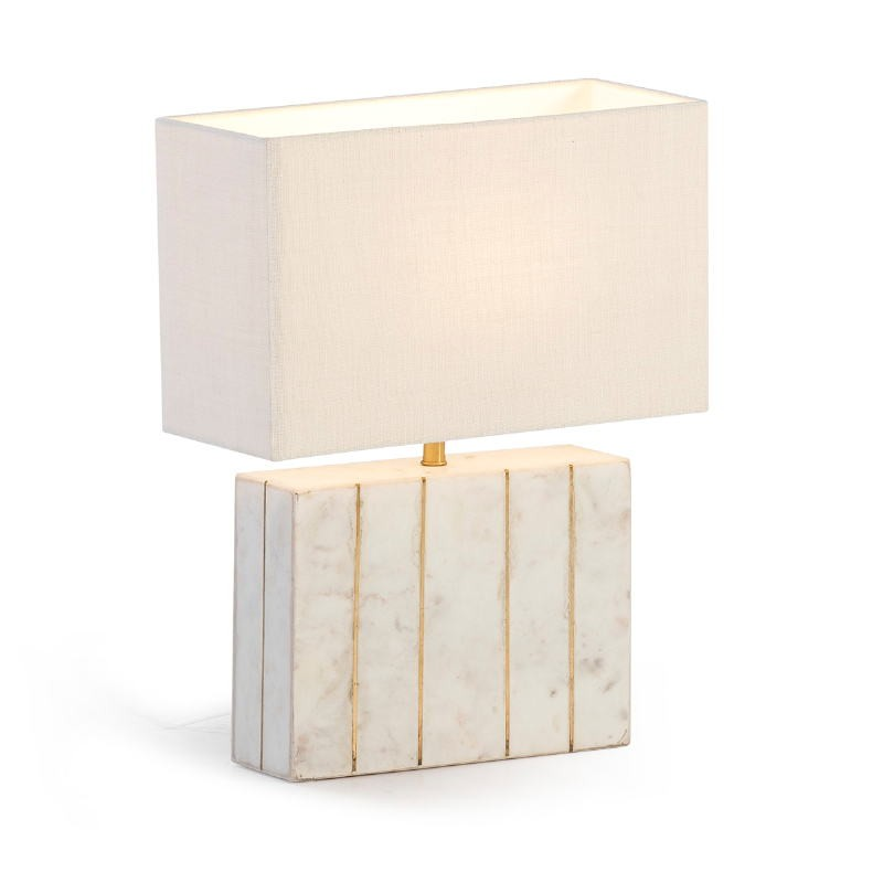 Table Lamp With Lampshade 27X8X29 Marble White Metal Golden - image 53190