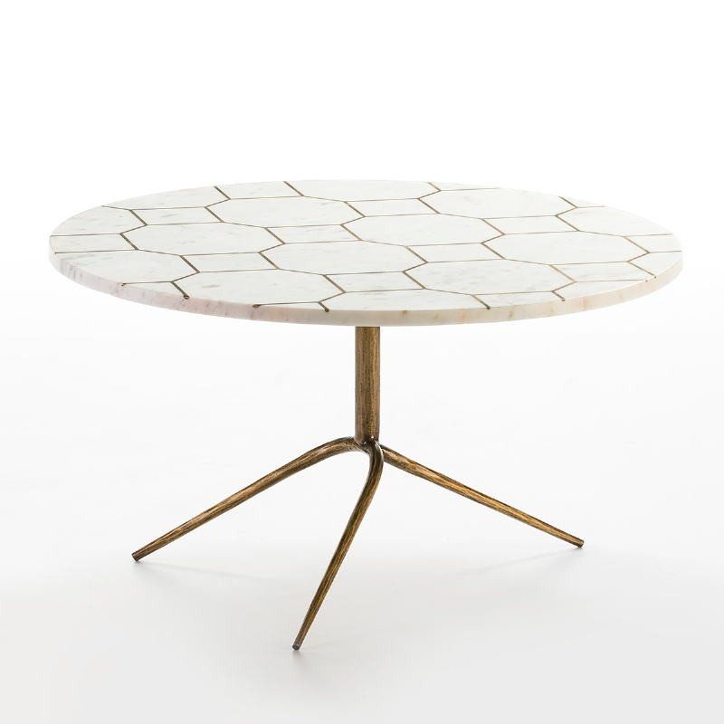 Coffee Table 82X82X44 Metal Golden Marble White - image 53201