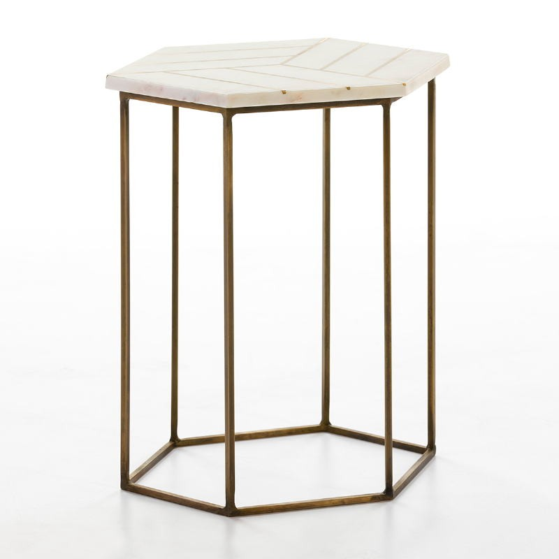 Side Table 44X44X58 Metal Golden Marble White